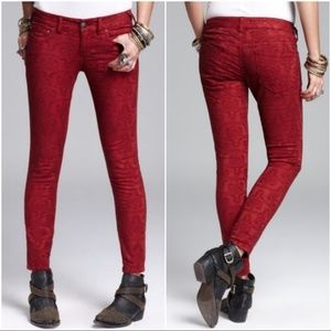 Free People Jacquard Textured Skinny Jeans Size 29